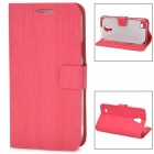 Protective PU Leather Flip Open Case for Samsung Galaxy S4 Mini - Deep Pink