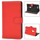 Protective PU Leather Flip Open Case for Nokia 925 - Red