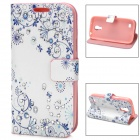 Rhinestone Flower-Printing PU Leather Flip Open Case for Samsung S4 Mini - White+ Purple + Pink