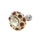 Shining Rhinestone Mushroom Anti-dust Plug for 3.5mm Earphone Jack - Silver + Red