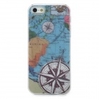 Unique World Map Compass Pattern Plastic Back Case + Front Skin w/ CID Indicator for Iphone 5