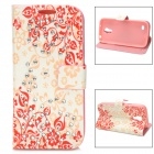 Rhinestone Flower-Printing PU Leather Flip Open Case for Samsung Galaxy S4 Mini - White+ Red + Pink