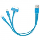 USB to 8-Pin Lightning / 30-Pin / Micro USB Charging Cable for iPhone 5 / 4S / Samsung i9300 - Blue