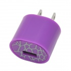 AC Power Adapter Charger w/ USB Output for Iphone / Ipad / Ipod - Purple (US Plug)