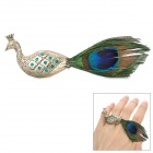 Peacock Style Rhinestone Zinc Alloy Finger Ring - Golden