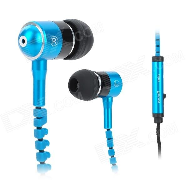 Mobaks HXT-2045 Novel Zipper Style Universal 3.5mm Jack Wired In-ear Headset w/ Microphone - Blue mobaks hxt 2045 zippered in ear style earphones red black 3 5mm plug
