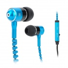 Mobaks HXT-2045 Novel Zipper Style Universal 3.5mm Jack Wired In-ear Headset w/ Microphone - Blue