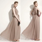 Women's Belted Pleated Chiffon Maxi Dress - Cracker Khaki (Free Size)