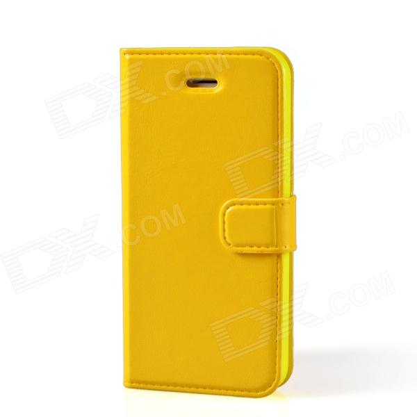 TEMEI Protective PU Leather Flip-Open Case for Iphone 5 - Yellow usams protective pu leather flip open case for iphone 5c blue