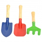 Mini Iron Round Shovel + Aquare Shovel + Spike-tooth Harrow Gardening Tools Set (M)