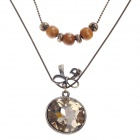 Retro Round Rhinestone Pendant Long Necklace - Bronze
