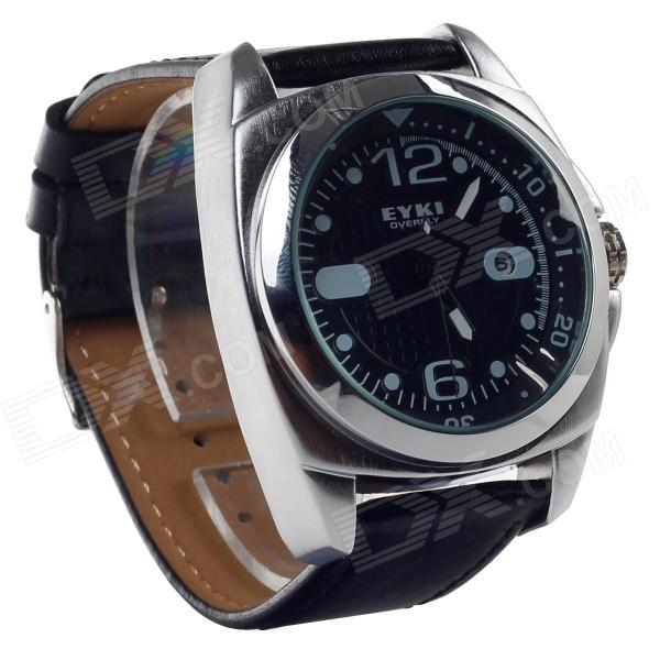 EYKI W8468G Stylish PU Leather Men's Quartz Wrist Watch w/ Simple Calendar - Black (1 x LR626)