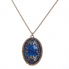 Retro Egg Shape Pendant Long Necklace w/ Shiny Rhinestone - Bronze + Blue