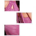 Modieuze elegante ruches Keyhole Dress for Women - Deep Pink (Free Size)