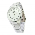 Stylish Steel Alloy Band Quartz Analog Wrist Watch for Men - Silver + White (1 x SR626SW)