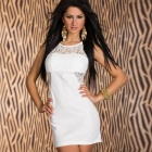 LC2843-1 Fashionable Glam Lace Insert Mini Dress for Women - White (Free Size)