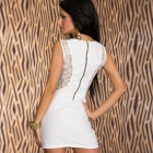 LC2843-1 Modieuze Glam Kant Insert Mini Dress for Women-White (Free Size)