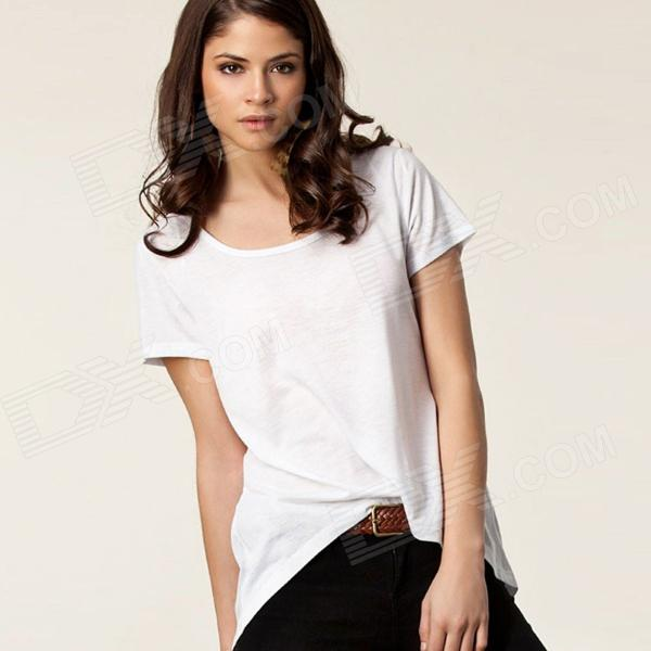 Fashionable Summer Casual Crew Neck Swallow-Tailed Loose Tees for Women - White (Free Size)