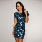 LC2749-1 Fashionable Sexy Short-Sleeve Open Back Sequin Dress for Women -Blue (Free Size)