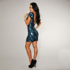 LC2749 - 1 Modieuze Sexy Short - Sleeve Open Back Sequin Dress for Women- Blauw ( Free Size )