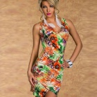 Fashion Sexy V-Neck Blossomy Crisscross Seamed Mini Dress for Women - Multicolored (Free Size)