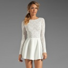 LC2840 Fashionable Elegant Round Collar Backless Lace Dress for Woman - White (Free Size)