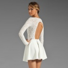 LC2840 Modieuze Elegant ronde hals Backless Lace Dress for Woman-White (Free Size)
