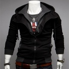 Casual Hooded Jacket for Men - Black + Grey (Size-XL)