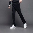 Men's Leisure Casual Cotton Pants Trousers - Black (Size-L)