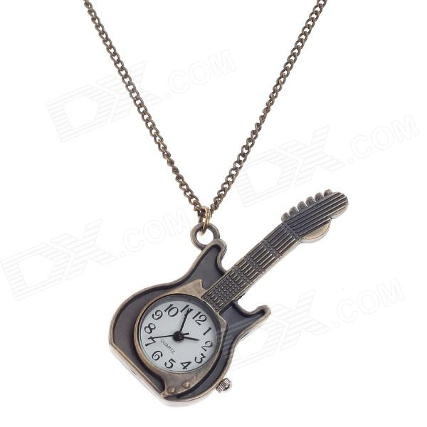 Retro Guitar Style Quartz Analog Pocket Watch w/ Necklace Chain - Bronze (1 x 377S) cute owl pendant chain necklace dual dial quartz pocket watch bronze 80cm chain 1 x lr626