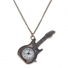 Retro Guitar Style Quartz Analog Pocket Watch w/ Necklace Chain - Bronze (1 x 377S)