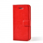TEMEI Protective PU Leather Flip-Open Case for Iphone 5 - Red