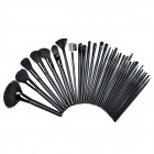B32A 32-in-1 Professional Make-up / Kosmetik Wood + Aluminum Wolle + Fiber Brushes Set - Schwarz