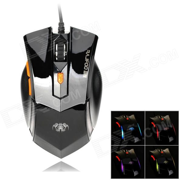 RAJFOO G4 USB 2.0 800 / 1200 / 1800dpi Wired Gaming Optical Mouse - Black
