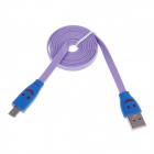 Smile Face Pattern Flat USB 2.0 Male to Micro USB Male Data Sync / Charging Cable - Purple + Blue