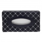 Elegant Advanced PU Leather Car Tissue Box w/ Top Embroidery - Black + Grey