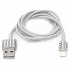 Rhinestone Decoration USB Male to 8pin Lighting Male Data Sync & Charging Cable - White (100cm)