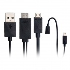 HDMI Male to USB / MHL Male Cable w/ Adapter Cable for Samsung / LG / HTC / SONY - Black (180cm)