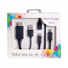HDMI to USB / MHL Cable w/ Adapter Cable for Samsung + More - Black