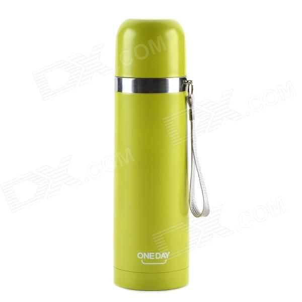 ONEDAY ZD-02 Stainless Steel Bullet Shaped Vacuum Cup - Green-Yellow + Silver (500mL) stainless steel bullet shaped olive oil dispenser bottle silver 230ml