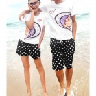 Casual Style Star Pattern Short Beach Pantsfor Men - White + Black (Size XL)