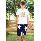 Casual Style Big Star Pattern Short Pant for Men - White + Blue (Size XXL)