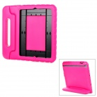 20006 Thick Shockproof EVA Back Case w/ 180 Degree Rotatable Handle / Holder for iPad 4 - Deep Pink
