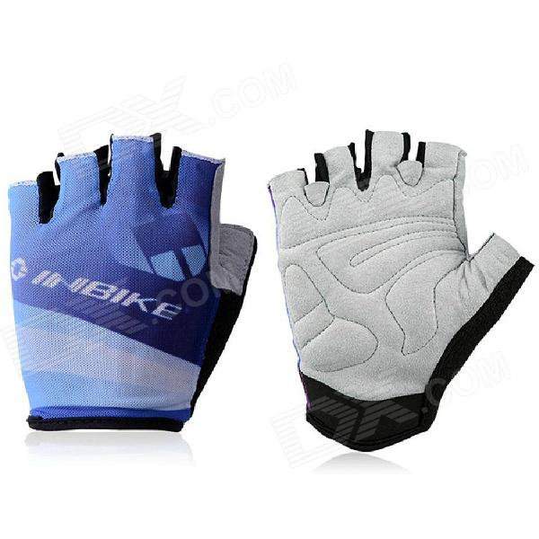 INBIKE HH-89 Outdoor Cycling Riding Half Finger Gloves w/ Protective Pad - Black + Blue  (Pair L)