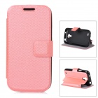 Stylish Flip-open PU Leather + TPU Case w/ Holder for Samsung S4 Mini - Pink