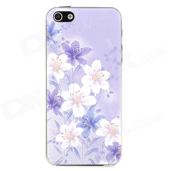 Relief Magnolia Style Protective Plastic Back Case for Iphone 5 - Purple + White water drops style protective plastic back case for iphone 4 blue
