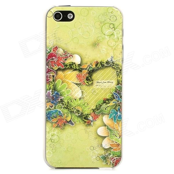 Relief Flowers Love Heart Style Protective Plastic Back Case for Iphone 5 - Green protective heart shape rhinestone decoration back case for iphone 5 brown