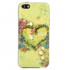 Relief Flowers Love Heart Style Protective Plastic Back Case for Iphone 5 - Green