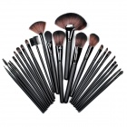 B24B 24-in-1 Professional Make-up / Kosmetik Wood + Aluminum Fiber Brushes Set - Schwarz