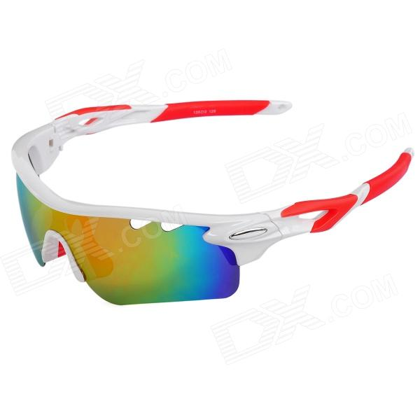 CARSHIRO T9559 UV400 Outdoor Cycling Polarized Sunglasses w/ 4 Replacement Lens - White + Red lambda ls668 outdoor cycling uv protection sunglasses w 5 replacement lens white